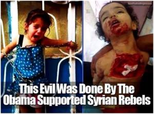 El Elespiadigital.com publico la imagen de una niña siria atada con cadenas por los rebeldessirios a la que  habían obligado a ver como asesinaban a sus padres. La niña y sus padres vivían en Deir ez- Zor, Gobernación en el este de Siria, en la frontera iraquí.