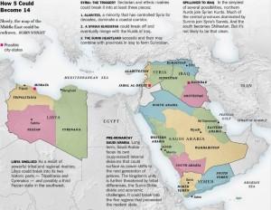 La disolución de Siria e Irak más tarde en áreas étnica o religiosamente únicas como en el Líbano, es el objetivo primordial de Israel en el frente oriental en el largo plazo, mientras que la disolución del poder militar de esos estados sirve de corto plazo primario objetivo. Siria vendrá abajo, de acuerdo con su estructura étnica y religiosa, en varios estados, como en el actual Líbano, por lo que habrá un estado chií alauí a lo largo de su costa, un estado sunita en el área de Alepo, otro sunita en Damasco hostil a su vecino del norte, y los drusos que establecer un estado, tal vez incluso en nuestro Golán, y desde luego en el Hauran y en el norte de Jordania ».