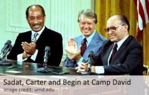 El tratado, el primero entre Israel y un país árabe, fue firmado el 17 de septiembre, después de trece días de negociaciones de alto nivel entre Egipto e Israel  en el Camp David retiro presidencial en el Estado de Maryland, EE.UU. Los dos firmantes fueron el presidente egipcio Anwar Sadat y el primer ministro israelí Menachem Begin. La cumbre de alto nivel fue organizada por el presidente de EE.UU. Jimmy Carter.