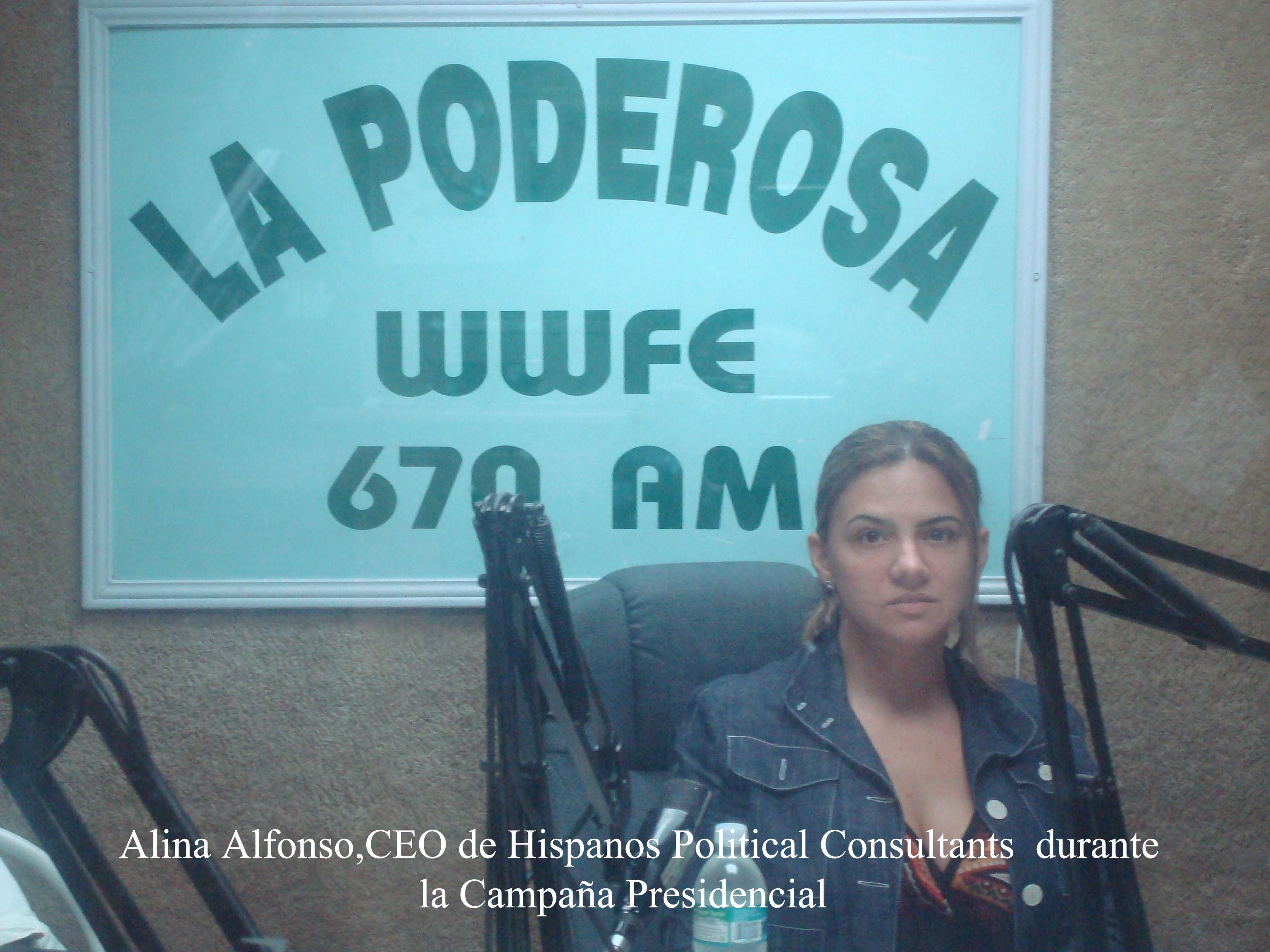 """Alina Alfonso, Especialista en Campañas Políticas Mediáticas, Analista Política, presentadora de Noticias de TeleMiami durante una de sus numerosas conducciones en la radio hispana del Sur de la Florida. En esta ocasión en WWFE """"La Poderosa"""" 670AM, Campaña de Obama 2008. Foto/Cortesía de QPM.ORG - See more at: http://www.codigoabierto360.com/2013/04/quien-es-nuestro-publisher-el-dr-jose-r-alfonso/#sthash.qeZ7J5qO.dpuf"""