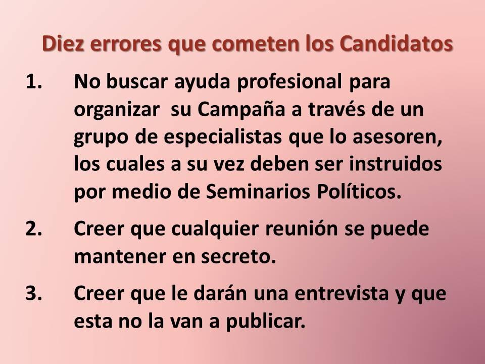 Diez errores de candidatos