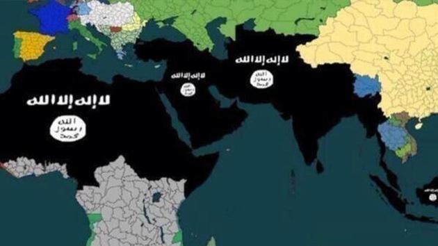 """El grupo yihadista Estado Islámico de Irak y el Levante (EIIL) ha publicado un mapa en su sitio web que muestra las """"conquistas"""" que pretende lograr en tan solo cinco años. © www.liveleak.com"""