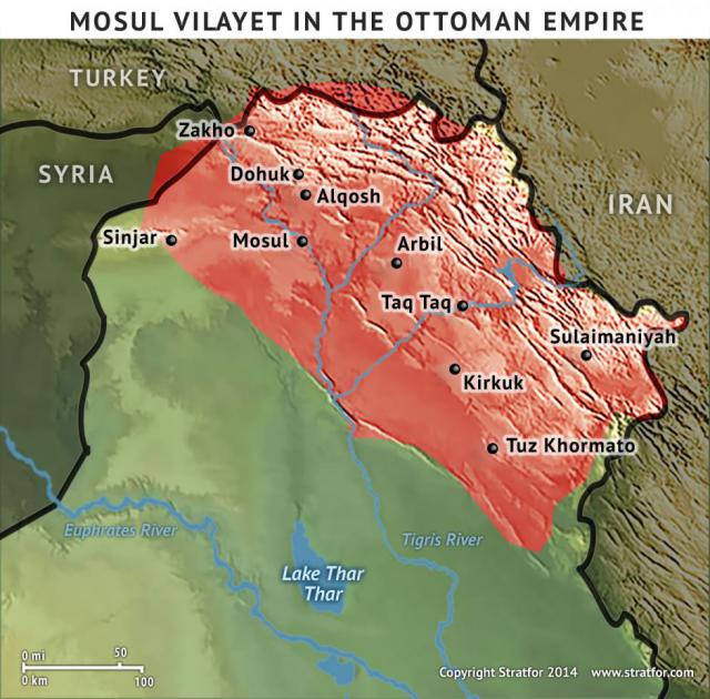Bajo el Imperio Otomano, los vilayet Mosul se extendían desde Zajo en el sureste de Anatolia hacia abajo a lo largo del río Tigris a través de Dohuk, Arbil, Alqosh, Kirkuk, Tuz Khormato y Sulaimaniyah antes de cabezazos contra las laderas occidentales de las montañas de Zagros, que dan forma a la frontera con Irán . Read more: Turquía, los kurdos y el Iraq: El Premio y los peligros de Kirkuk | Stratfor Follow us: @stratfor on Twitter | Stratfor on Facebook