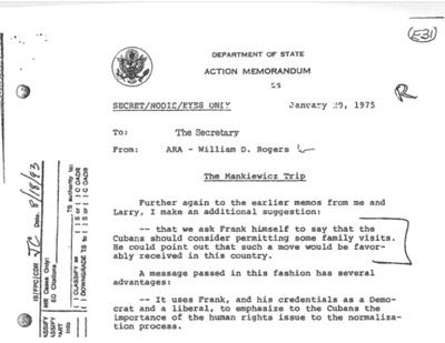 """Departamento de Estado, Acción Memorando, """"El viaje Mankiewicz,"""" Secret / NODIS / ojos solamente, 20 de enero 1975"""