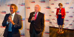 De izquierda a derecha: los senadores Jeff Flake (R - AZ), Amy Klobuchar (D - MN) y Patrick Leahy (D - VT) invitados dirección del tronco en Engage fiesta de lanzamiento de Cuba el 16 de junio de 2015.
