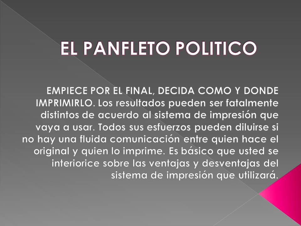 EL PANFLETO POLITICO
