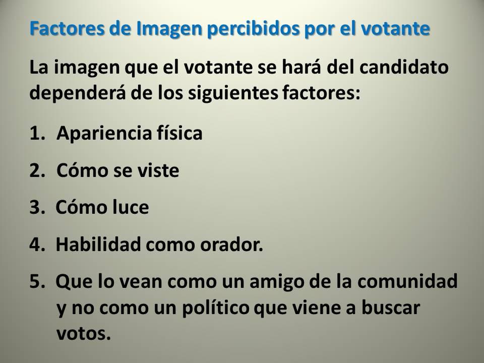 Factores de imagen percibidos por votantes