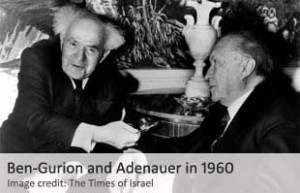"""el acuerdo bilateral inicial fue alcanzado en 1960 en Nueva York, durante una reunión entre el primer ministro israelí David Ben-Gurion, y el canciller de Alemania Occidental Konrad Adenauer. El programa, con nombre en código """"Aktion Geschäftsfreund"""" (""""Operation Business Partner"""") se solidificó durante una reunión posterior entre los dos hombres en la capital francesa de París, en 1961."""