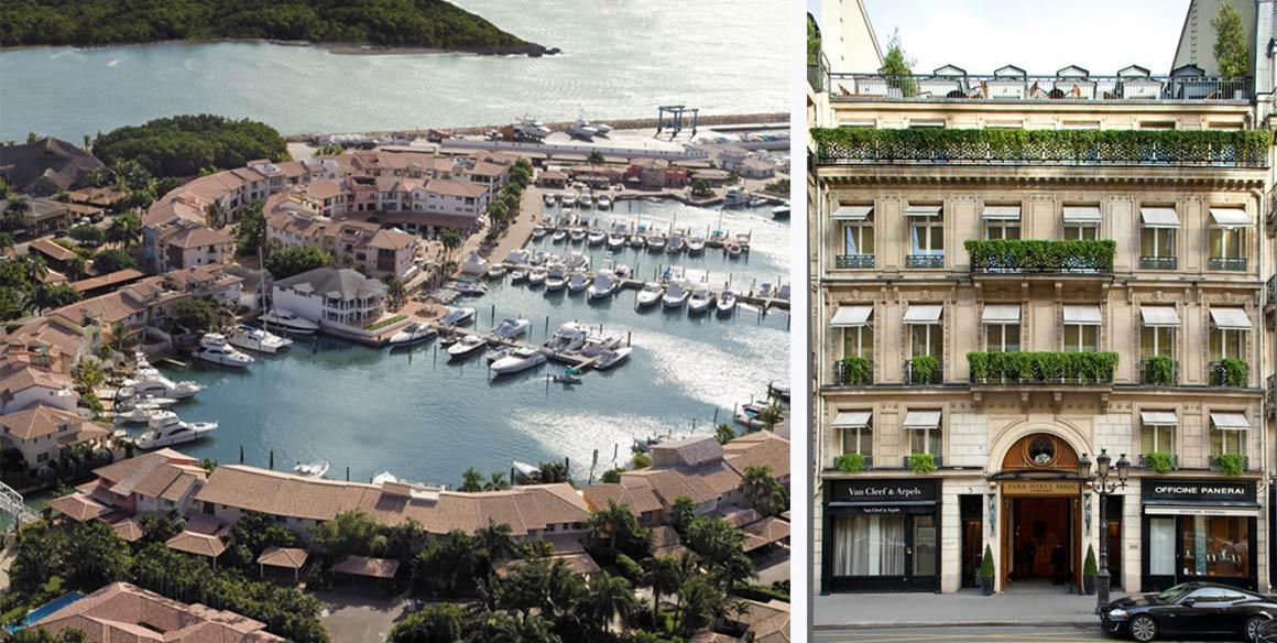 Izquierda: La Marina Casa de Campo en República Dominicana. Derecha: Exterior de Park Hyatt Paris-Vendôme. | Leading Hotels of the World y Hyatt