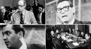 """Las agujas del reloj desde la parte superior izquierda:     Howard Hunt: Hay por lo menos 332 páginas de material de la colección final sobre Hunt, que es el más famoso por ejecutar el anillo que irrumpió en la sede del Partido Demócrata en el Hotel Watergate en 1972. Una década antes, había llevado fallido Bahía de la agencia invasión de Playa Girón en Cuba. Era Hunt, poco antes de morir en 2007, quien afirmó que había tenido acceso a un complot de varios afiliados de la CIA para matar a John F. Kennedy - lo que él denominó como """"el gran evento·. """"David Atlee Phillips: También en revisión, existen por lo menos 606 páginas sobre Phillips, un agente de la CIA que fue acusado - aunque nunca encausado - de cometer perjurio cuando se le preguntó acerca de los lazos de la agencia con Lee Harvey Oswald por parte del Comité Selecto de la Cámara sobre Asesinatos. Phillips tarde en la vida atribuyó el asesinato de JFK a """"delincuentes"""" agentes de la CIA. Comité Church: Los archivos de un par de sondas de 1975 del Congreso sobre los abusos de la CIA - la Iglesia llamada y Comités Pike - también aún no se han hecho público. Incluyen testimonios sobre parcelas secretas para asesinar a Castro por el agentes de la CIA. Yuri Nosenko:. También entre los archivos retenidos de la agencia existen 2224 páginas de interrogatorio de la CIA a Nosenko, un oficial de la KGB soviético que desertó a los EE.UU. poco después del asesinato de Kennedy. Afirmó haber visto los archivos de la KGB sobre Lee Harvey Oswald en los 2 años y medio antes del asesinato, cuando Oswald vivió en la Unión Soviética.   AP y Getty Images"""