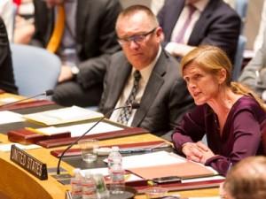 La representante permanente de Estados Unidos, Samantha Power, en el Consejo de Seguridad de la ONU junto al subsecretario general y director de Asuntos Políticos de Naciones Unidas, el también estadounidense Jeffrey Feltman.