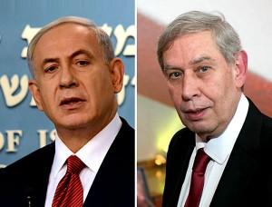 """Tamir Pardo (a la derecha) se retirará de su cargo de Director del Mossad el próximo mes de enero —después de 5 años en el mismo— opinaba, al igual que los otros altos funcionarios de la Comunidad de Inteligencia judía, """"que el programa nuclear iraní no era una amenaza existencial para Israel y que el estado judío debía concentrarse en su disputa con los palestinos"""" y en otra ocasión expresaría que"""" el conflicto con los palestinos era la principal amenaza para Israel, no armas nucleares iraníes"""". Palabras que al ser publicadas en medios de prensa plana israelíes provocaron la furia del PM Netanyahu."""