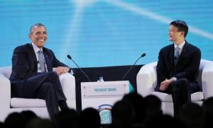 Obama con Jack Ma, presidente de Alibaba, en la cumbre de la APEC en Filipinas en noviembre pasado días después de ISIS mató a 130 personas en París (Aaron Favila / AP)