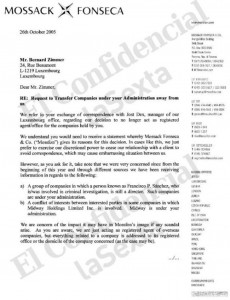 Documento de Mossack Fonseca relacionado con el espía Paesa.