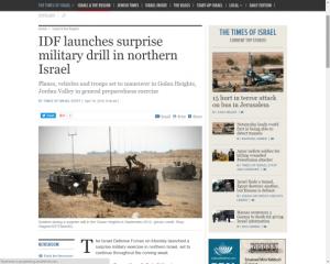 El ejército israelí lanzó un ejercicio militar aéreo sin previo aviso en el norte de Israel este lunes 18 de abril. Asimismo, también realizará maniobras militares en el valle del Jordán, estratégicamente situado al sur de los Altos del Golán y el Mar de Galilea.