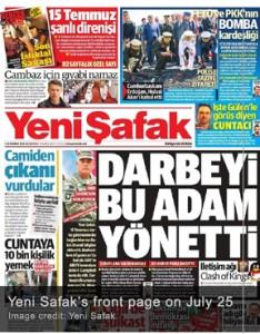 """El 25 de julio,Yeni Safak, un popular diario turco, alegó que el golpe  había sido financiado y organizado por el gobierno de los Estados Unidos. El periódico, que tiene su sede en Estambul, es conocido por su postura política conservadora y estrechos vínculos con el AKP, el partido del presidente turco, Recep Tayyip Erdogan. Sus editoriales suelen reflejar la posición del AKP en los asuntos políticos del día. El informe también examina las presuntas transacciones de dinero que se centran en el papel de la rama en  Nigeria de los Estados Banco de África (UBA), que supuestamente constituía """"la base principal de los últimos seis meses de las transacciones de dinero para los golpistas"""". El informe también destacó el papel de la CIA en la aplicación de las transferencias de dinero"""